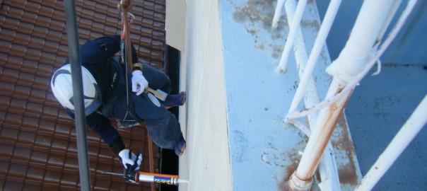 雨漏り ロープワーク補修